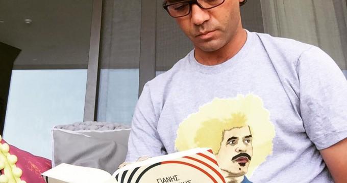 Yiannis Misirlis reading Varoufakis book