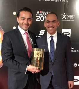 Yiannis Misirlis and Finance Minister Harris Georgiades, who also received an award on the night
